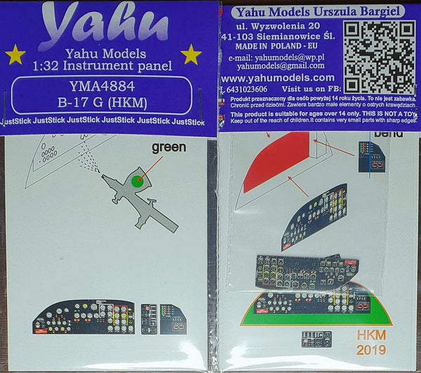 Yahu Models YMA4884 1/48 B-17G Flying Fortress Instrument Panel HKM