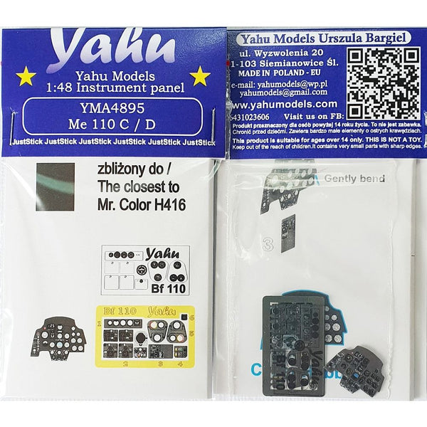 Yahu Models YMA4895 1/48 Me 110 C/D Instrument Panel for Cyber Hobby