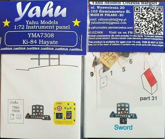 Yahu Models YMA7308 1/72 Ki-84 Hayate Instrument Panel Sword - SGS Model Store