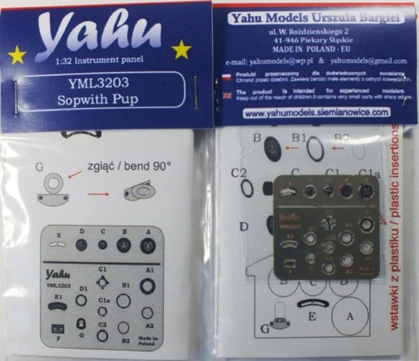 Yahu Models YML3203 1/32 Sopwith Pup Instrument Panel for Wingnut Wings - SGS Model Store