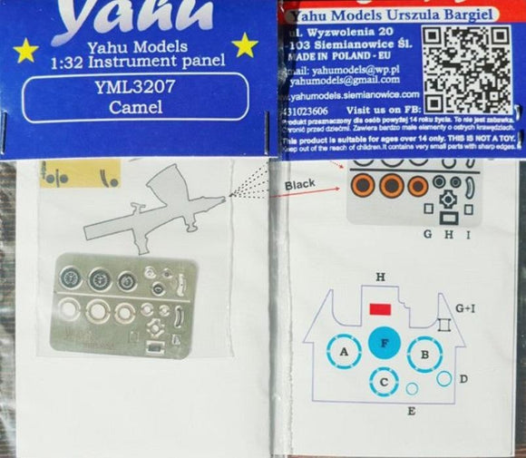 Yahu Models YML3207 1/32 Sopwith Camel Instrument Panel - SGS Model Store