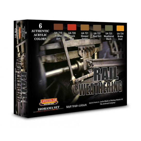 Lifecolor CS21 Rail Weathering Acrylic Paint Set (22ml x 6) - SGS Model Store
