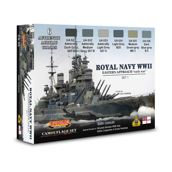 Lifecolor CS33 Royal Navy WWII Eastern Approach - Early War Set 1 acrylic colours - SGS Model Store