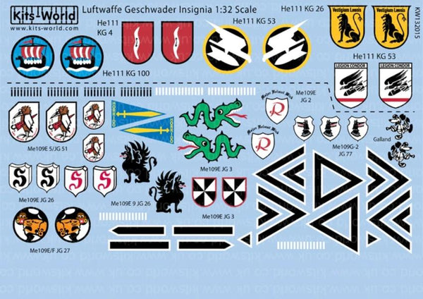 Kits-World KW132015 1/32 Luftwaffe Geschwader Insignia Model Decals