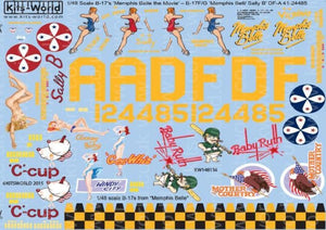 Kits-World KW148136 1/48 B17F/G Fortress - 'Memphis Belle/Sally B' Model Decals - SGS Model Store