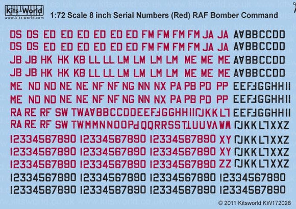 Kits-World KW172028 RAF Serial Letters and Numbers 8' Red and Black - SGS Model Store