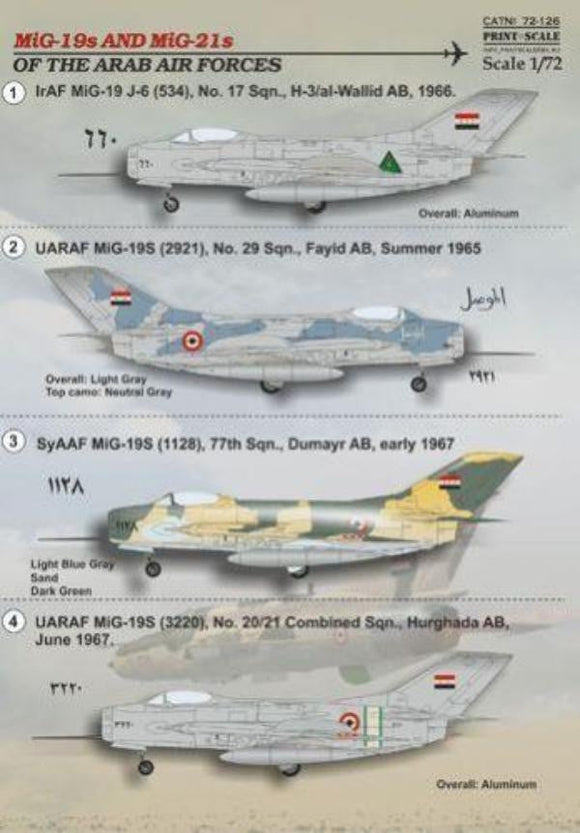 Print Scale 72-126 1/72 MiG-19s and MiG-21s of the Arab Air Forces Model Decals - SGS Model Store