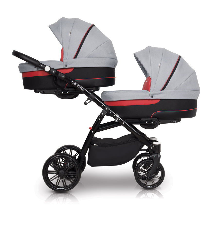 Twin Baby Pram with  2 x Carrycots and 2 x Pushchairs - Blu Retail Group
