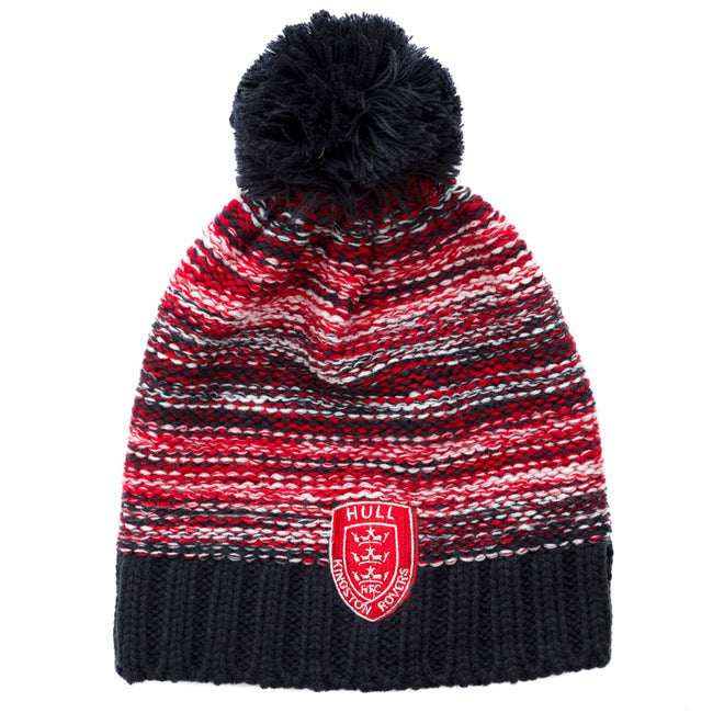 NAVY RED KNIT PATTERN POM HAT