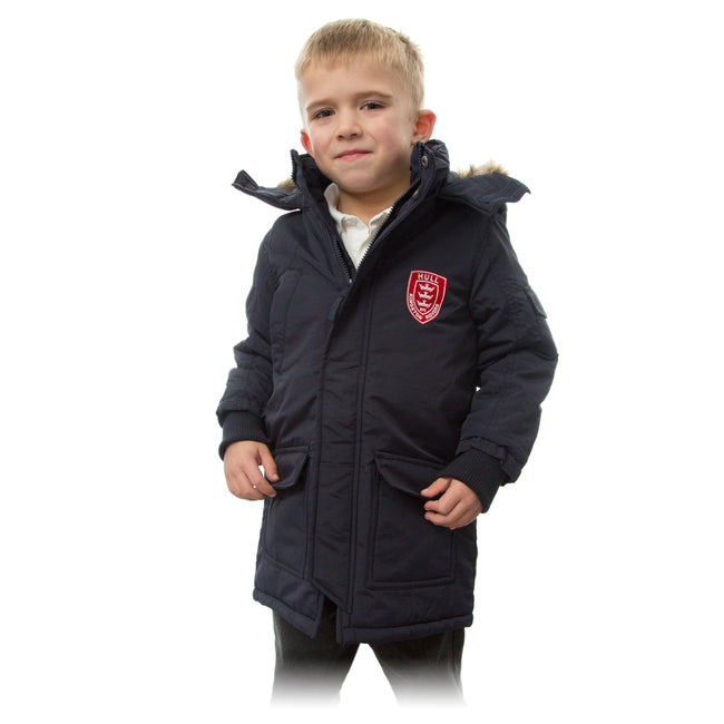 JUNIOR NAVY FUR HOOD COAT