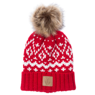 RED FAIRISLE POM HAT