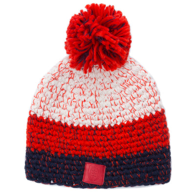 RED/WHITE/NAVY KNIT POM HAT