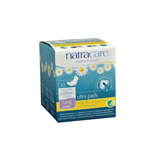 Natracare Natural UItra Pads w/wings - Long w/organic cotton cover - 10 Pack