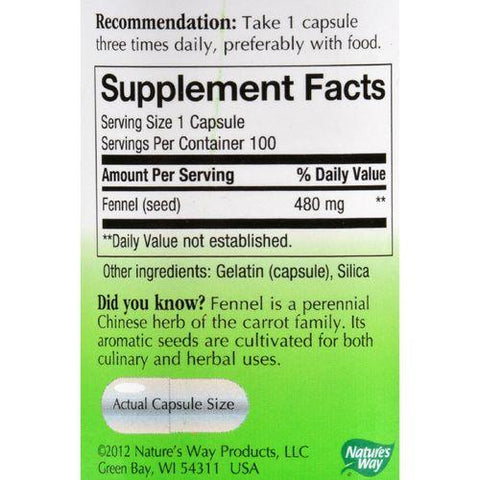 Nature's Way Fennel Seed - 100 Capsules