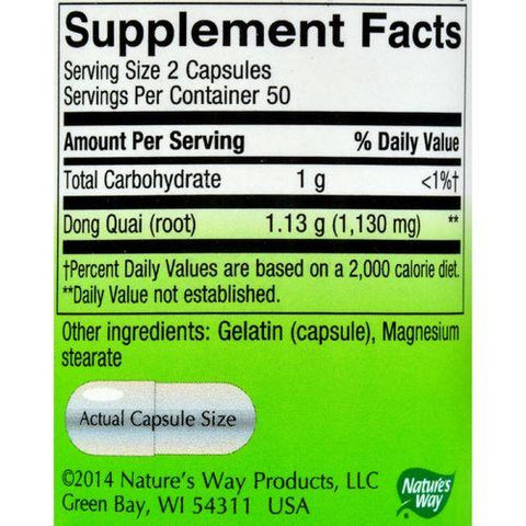 Nature's Way Dong Quai Root - 100 Capsules