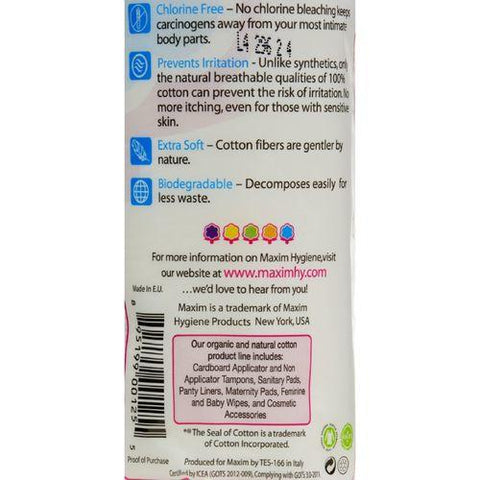 Maxim Hygiene Organic Cotton Rounds - 80 Rounds