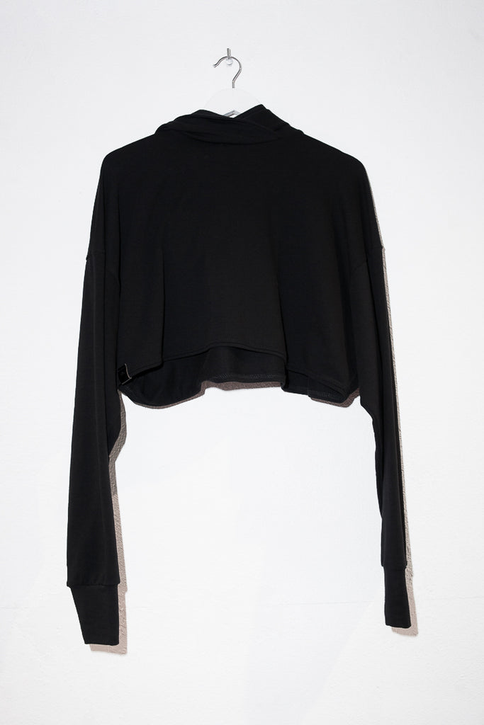 Crop top black long sleeves hoodie