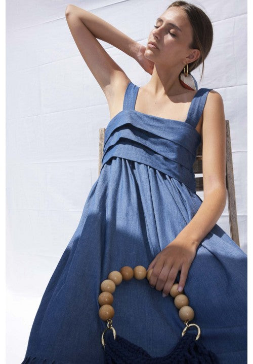 LIGHT ORGANIC COTTON BLUE DENIM DRESS WITH STRAPS - Studio183