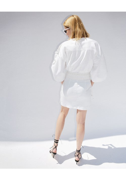 WHITE DENIM MINI DRESS - Studio183