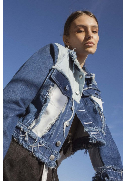 "THE CROPPED ""PATCH-MIX"" DENIM RECYCLE JACKET - Studio183"