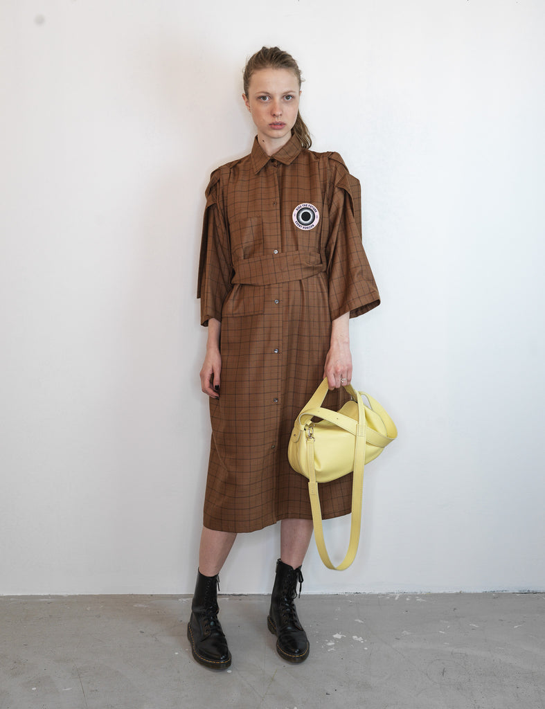 WOMEN BROWN LONG SHIRT DRESS