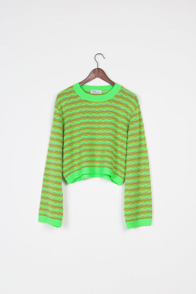 Neon Green Cropped Sweater - Studio183