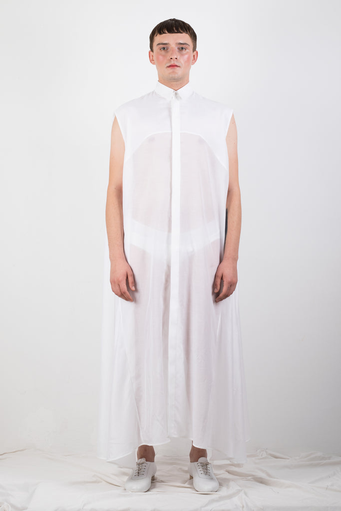 WHITE SILK BLEND SHIRT - Studio183