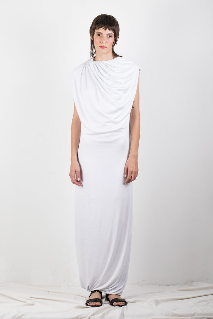 WHITE DRAPED JERSEY DRESS - Studio183