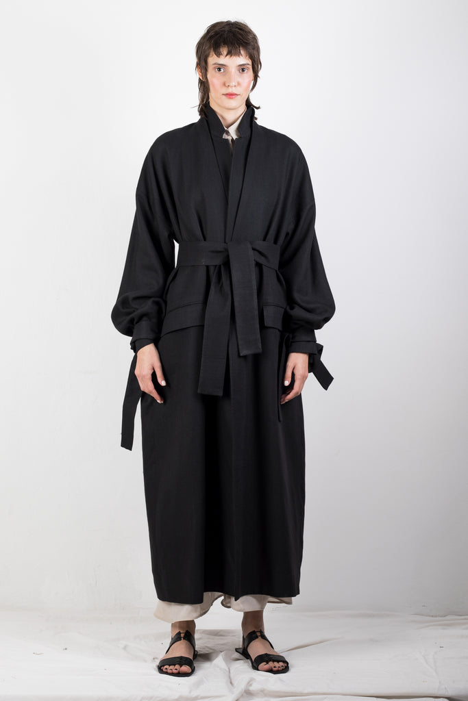 DOUBLE COLLAR FLAX COAT - Studio183
