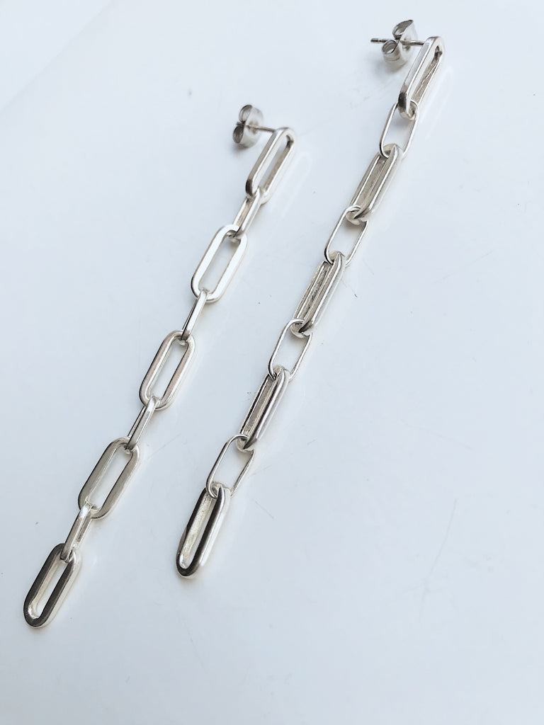 SQUARE CHAIN EARRINGS ECO SILVER / PE58 - Studio183