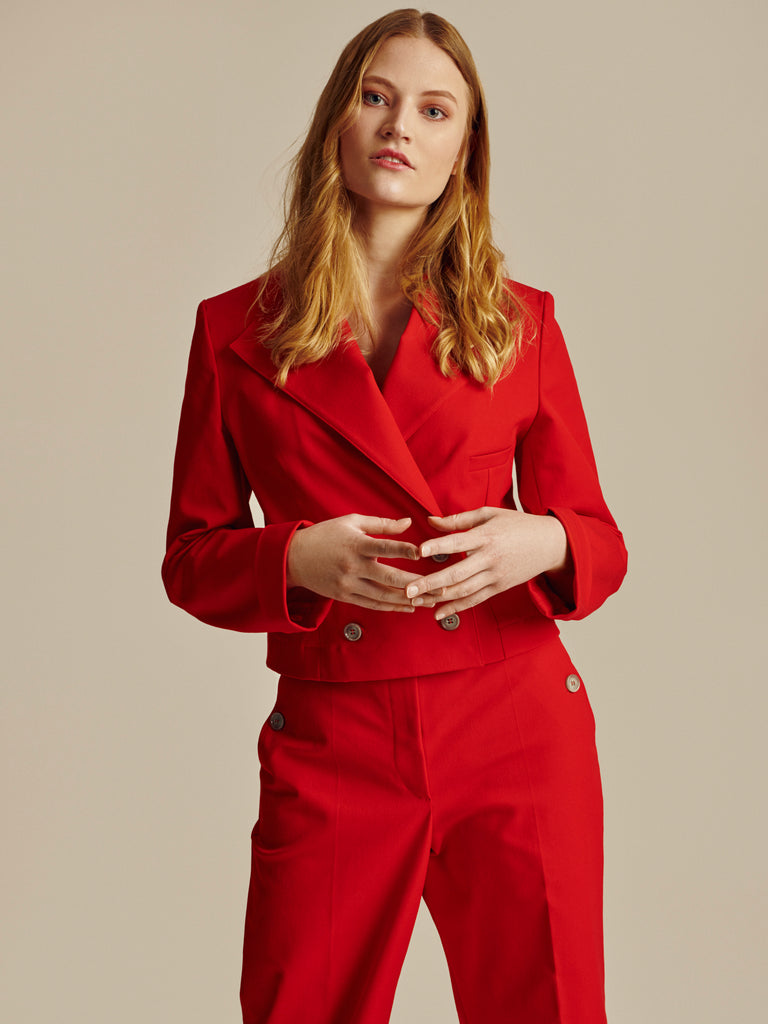 SHORT RED COTTON DOUBLE BREASTED BLAZER - Studio183