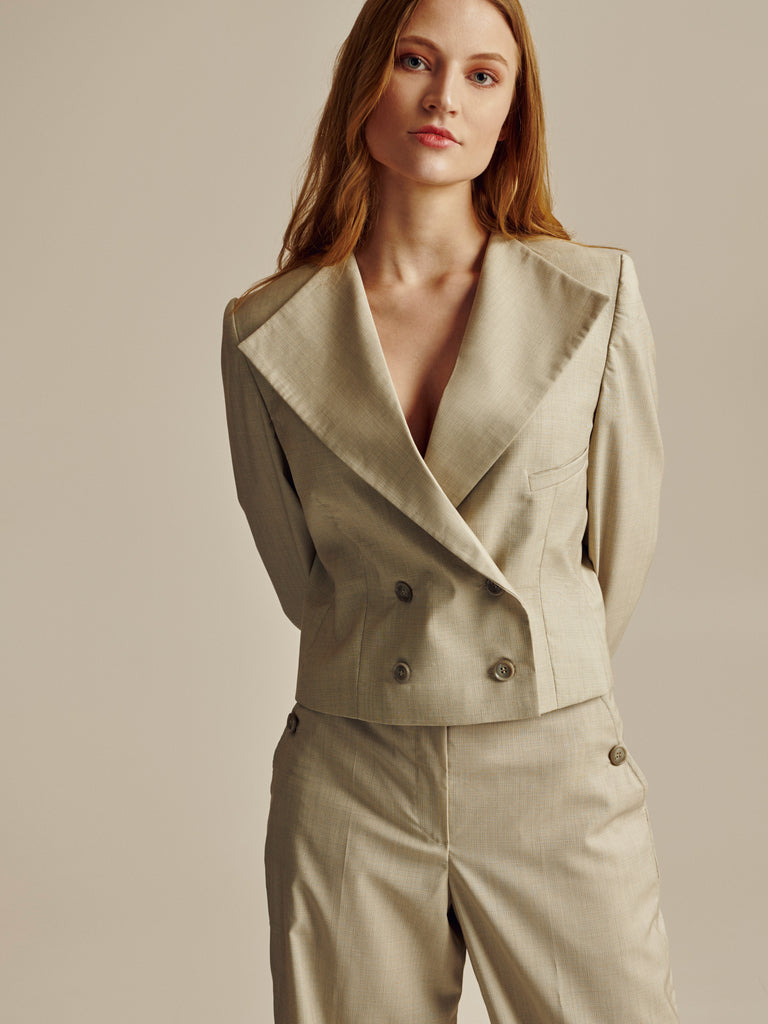 SHORT BEIGE WOOL DOUBLE BREASTED BLAZER - Studio183