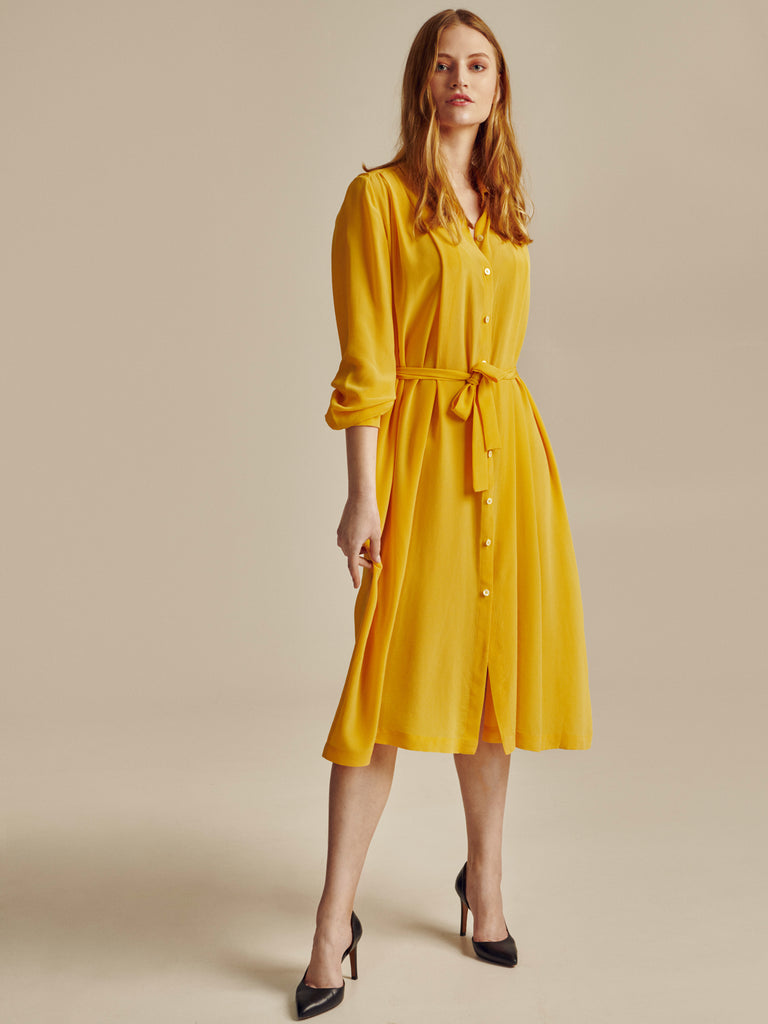 YELLOW SILK SHIRT DRESS - Studio183