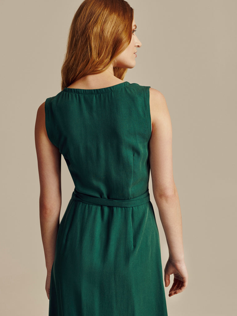 GREEN TENCEL SLEEVELESS WRAP DRESS - Studio183