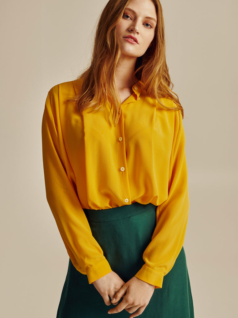 YELLOW SILK OVERSIZED SHIRT - Studio183