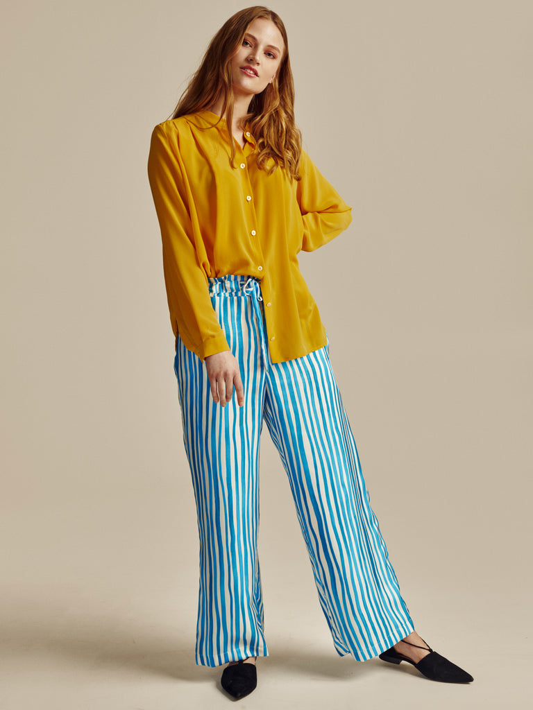 WHITE AND BLUE STRIPED SILK TROUSERS - Studio183