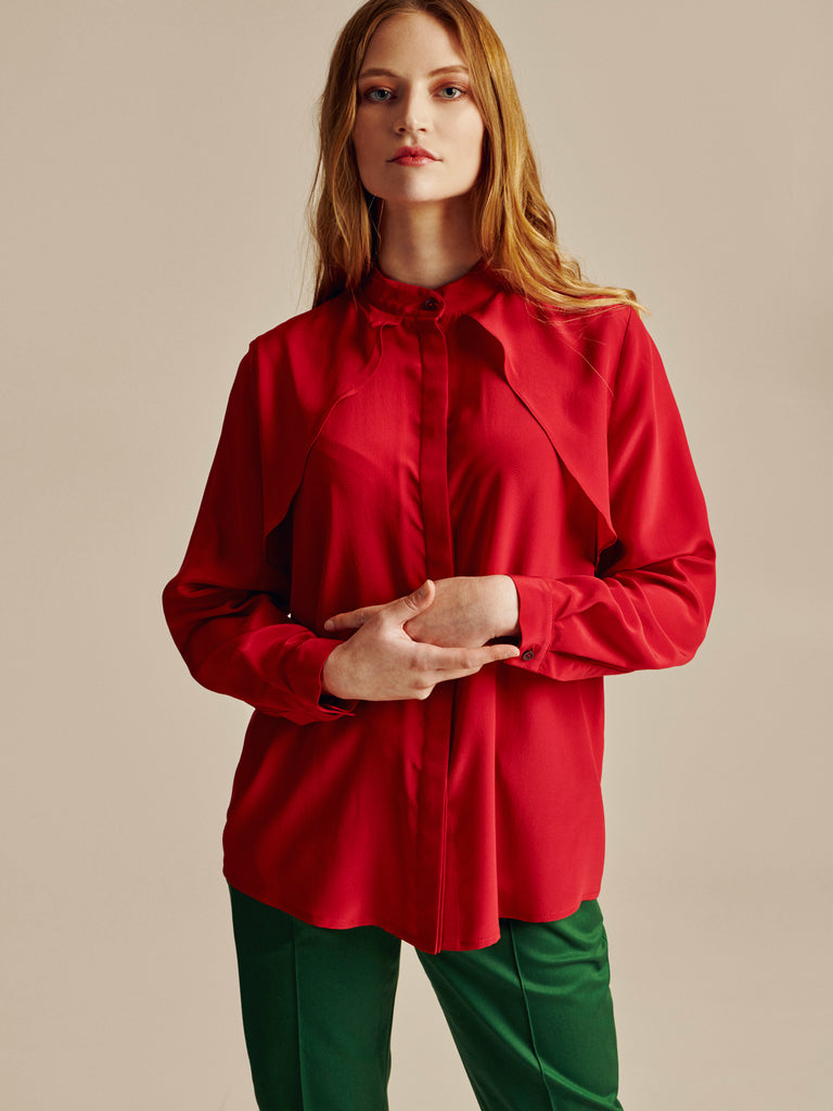 RED TRENCH SILK SHIRT - Studio183