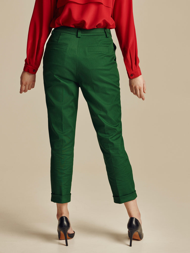 GREEN COTTON CIGARETTE TROUSERS - Studio183