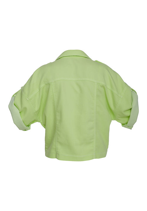 THE LIGHT DENIM BLOUSE/JACKET, DYED IN NEON GREEN - Studio183