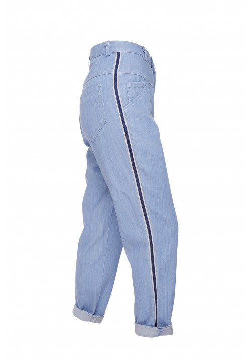 THE FITTED DENIM PANT IN BLUE - Studio183