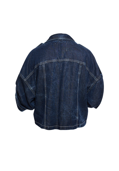 THE DENIM BLOUSE/JACKET IN NAVY, ACID WASH - Studio183