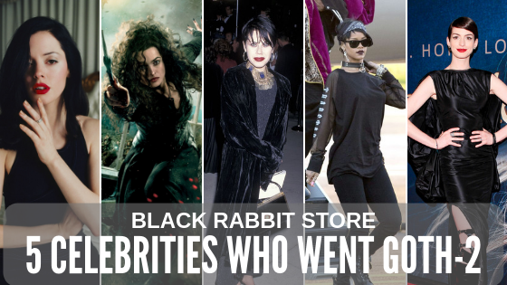 5 Celebrities Who Went Goth - Part II | BLACK RABBIT STORE Featuring Rose McGowan, Helena Bonham Carter, Fairuza Balk, Rihanna and Anne Hathaway. Gothic outfits, when talked about in reference to Gothic Glam Fashion Style, usually feature laced dresses of