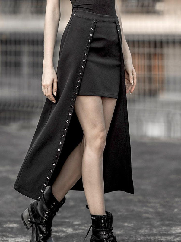 Women's Goth Fake Two-piece Maxi Skirts - Black Rabbit Store