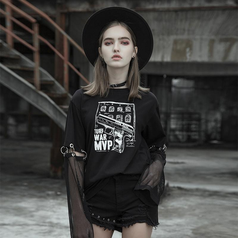 Women's Punk Printed Loose Black T-Shirt With Detachable Sleeves - Black Rabbit Store