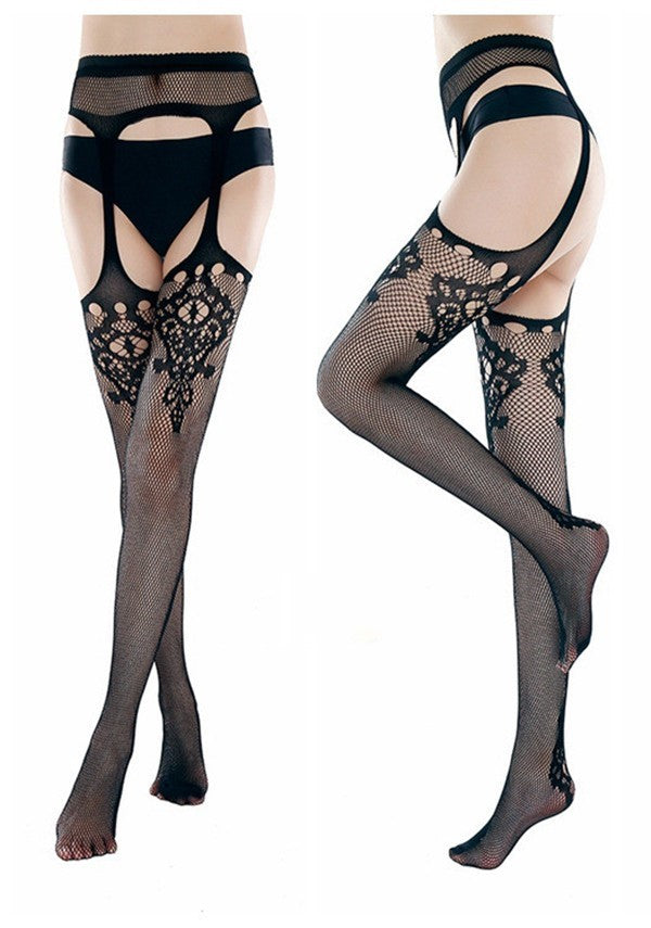 Waneta Sexy Underwear Open Crotch Stockings - BLACK RABBIT STORE