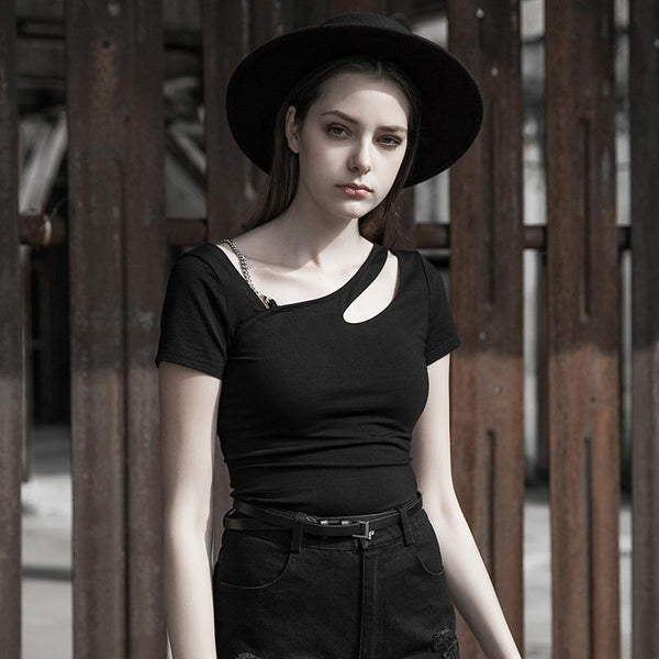 Women's Goth Spring Fitted Black T-shirt - Black Rabbit Store