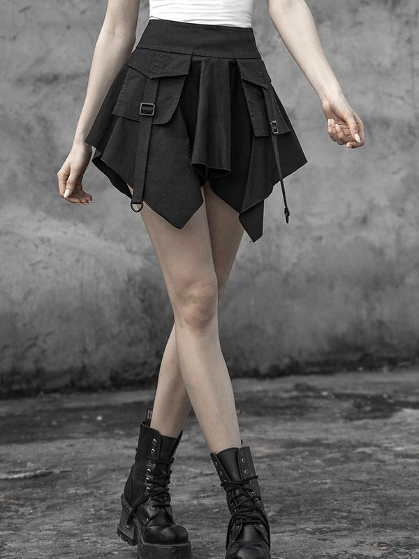 Women's Punk Irregular Cargo Skirt With Pocket - Black Rabbit Store