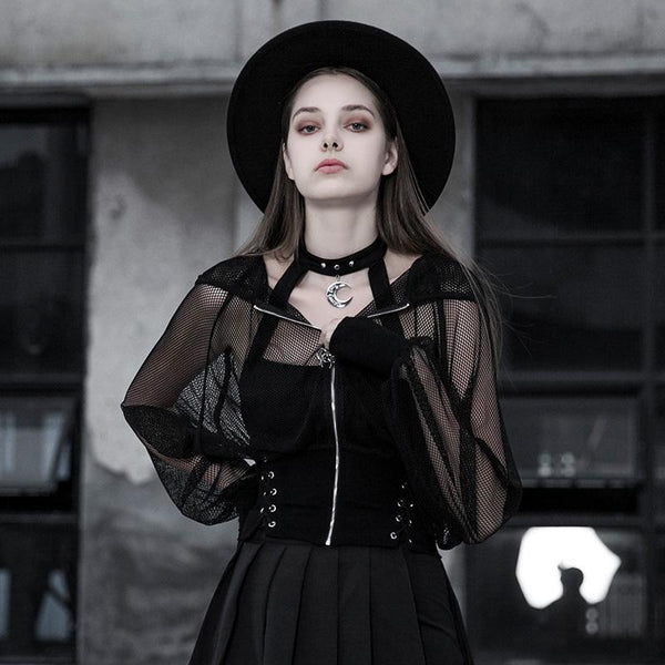 Women's Goth Sheer Fitted Mesh Short Coat - Black Rabbit Store