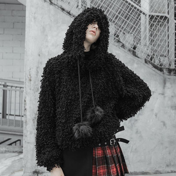 Women's Goth Loose Cozy Furry Hoodie - Black Rabbit Store