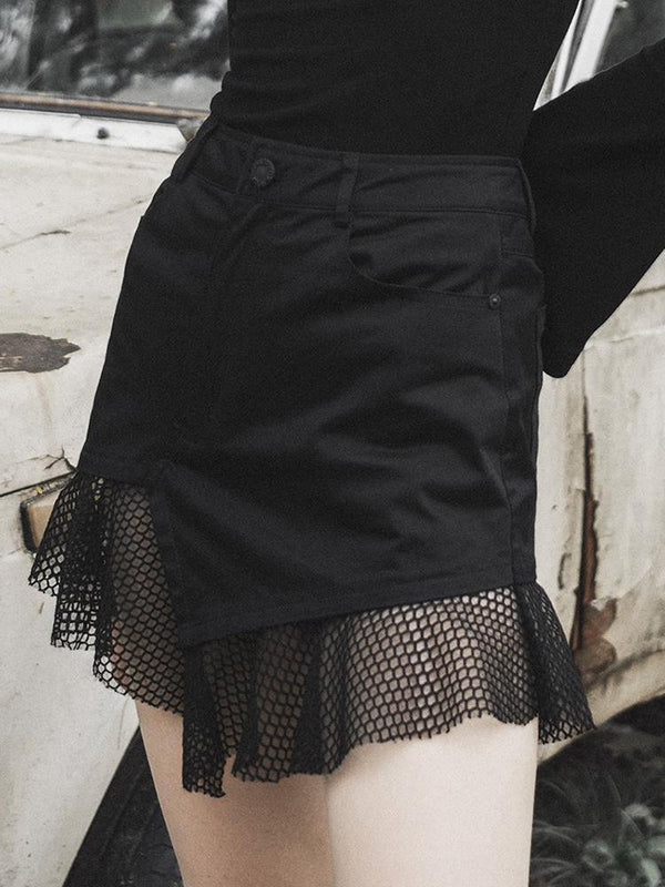 Women's Goth Irregular Mesh Hem Black Mini Skirt - Black Rabbit Store